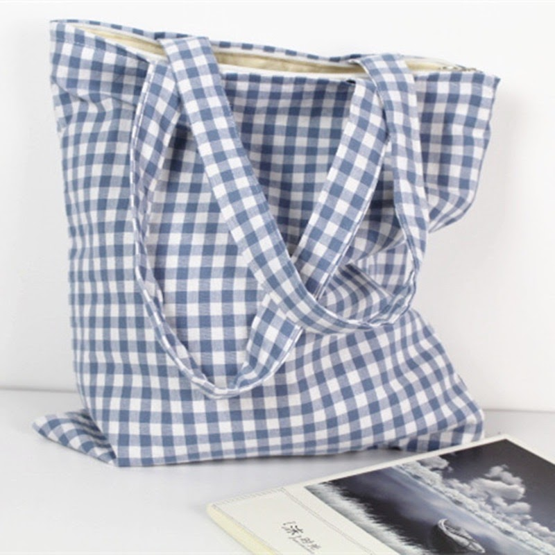 Soft Gingham Tote Bag